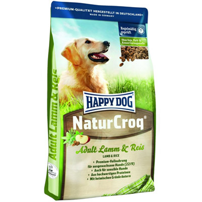 корм для собак happy dog naturcroq adult lamm reis